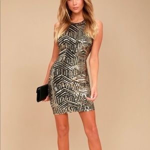 Lulus black and gold sequin party dress